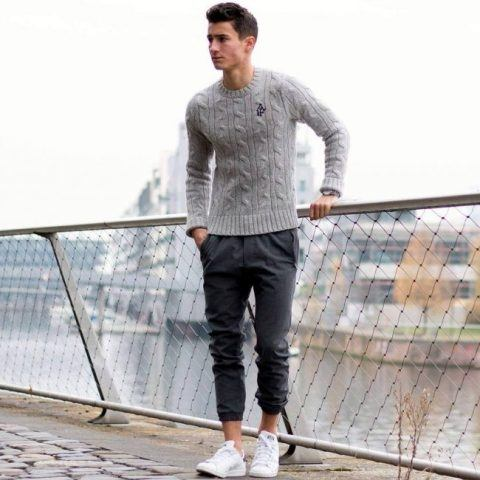 What to Pack for Holiday Travel, men's athletic pants, men's gray joggers with gray sweater and white sneakers