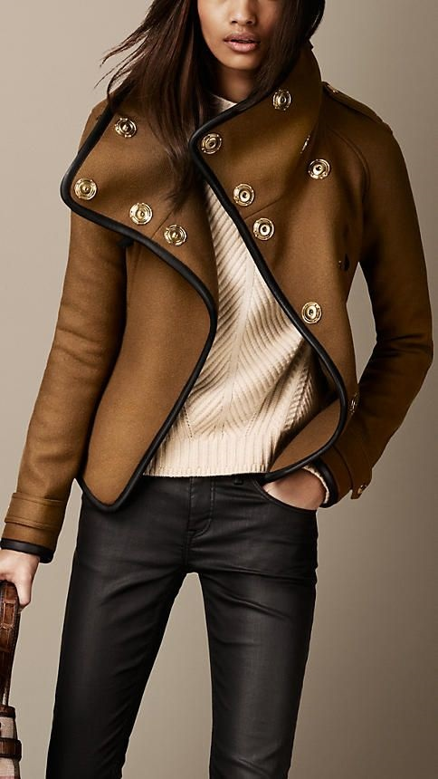 What to Wear on Thanksgiving Day, stylish jacket and sweater, Burberry textured jacket closes metal buttons