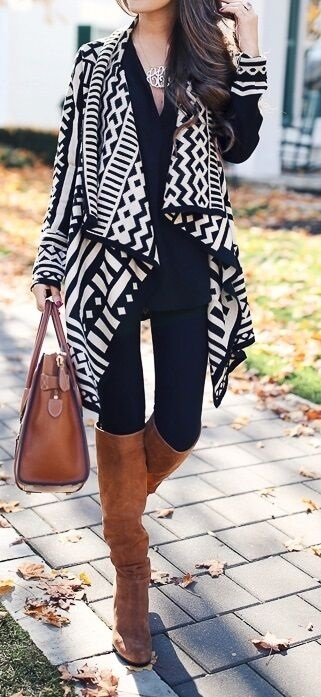 What to Wear on Thanksgiving, black and white print cardigan, black turtleneck and brown boots