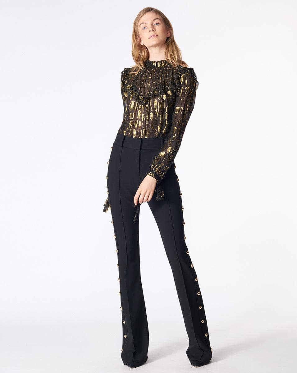 What to Wear to Thanksgiving, metallic blouse, Veronica Beard Black and Gold Brooks Blouse