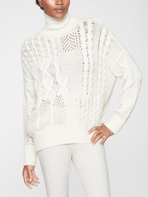 Cashmere Cable Turtleneck Sweater