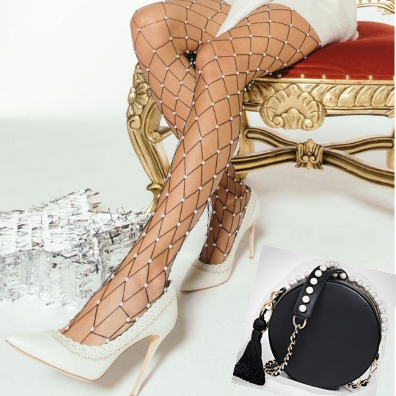 Chic New Year's Eve Outfits, NYE accessories, shimmer tights