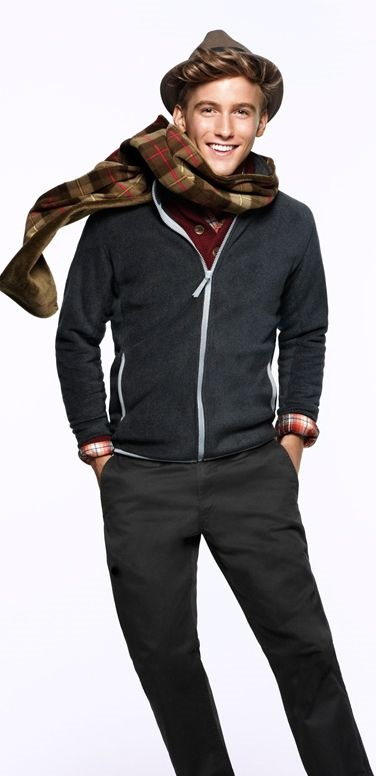 Men's holiday style, what to wear to casual holiday party, Men's burundy sweater, blue zip hoodies, plaid scarf