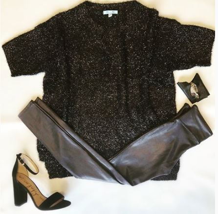 Party Looks and Presents for all your Holiday Needs, black sweater metallic sweater, black leather leggings