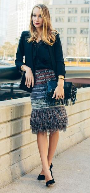 Party Looks and Presents for all your holiday needs, metallic sequin striped skirt with fringe and feathers, black fringe clutch, black top