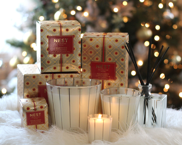 Party Looks and Presents for all your Holiday Needs, deserts, scented candles holiday gift, Nest sugar cookie candles