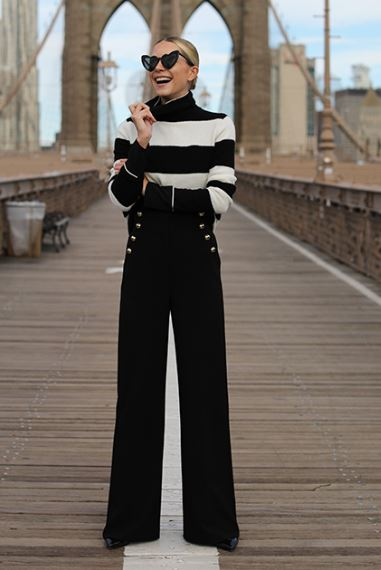 Are Pants the New Dress, black wide leg pants, black and white striped turtleneck, Atlantic-Pacific