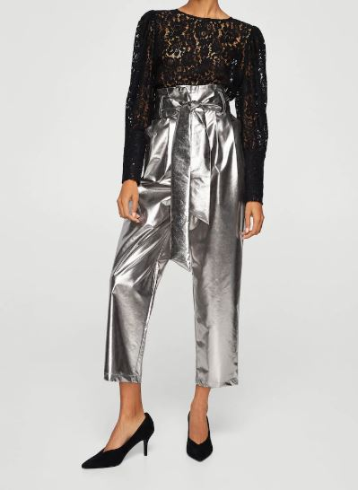 Are Pants the New Dress, metallic pants, Mango silver metallic cropped wide leg pants