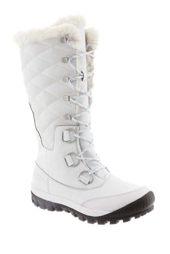 Stylish Warm Winter Boots that Grab the Eye, fur-lined snow boots, fur trim boots, white snow boots, BEARPAW Isabella Sheepskin Lined Lace-Up Boot
