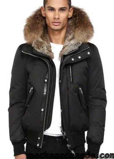 Break the Winter Chill Men's Winter Coats, men's lined bomber jacket, Mackage Black down bomber jacket with fur hood