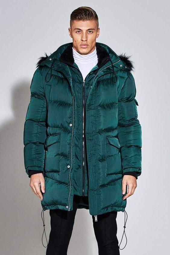 Break the Winter Chill Men's Winter Coats, men's satin puffer jacket, boohoo Premium Satin Puffer Jacket
