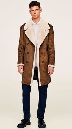 Break the Winter Chill Men's Winter Coats, shearling coat, Zara shearling coat