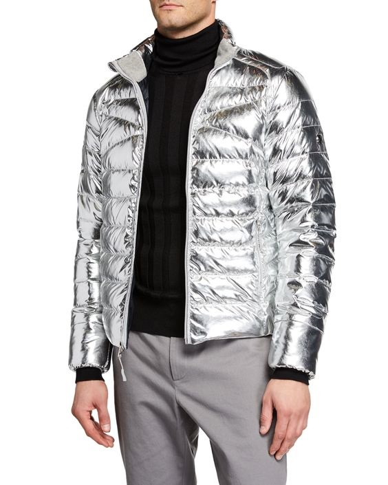 Break the Winter Chill Men's Winter Coats, puffer jacket, RALPH LAUREN MEN'S METALLIC ZIP FRONT PUFFER JACKET