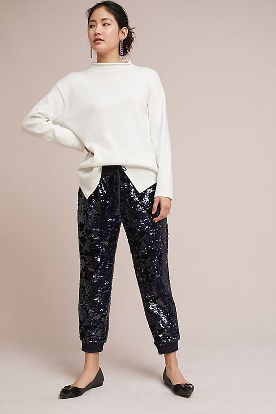 Must-Have Casual Cozy Loungewear, sequin joggers and sweater, Anthropologie Harlyn Oro Sequin joggers