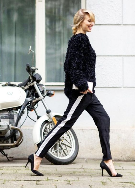 Must-Have Casual Cozy Loungewear, women's track pants, black track pants with black sweater and high heels