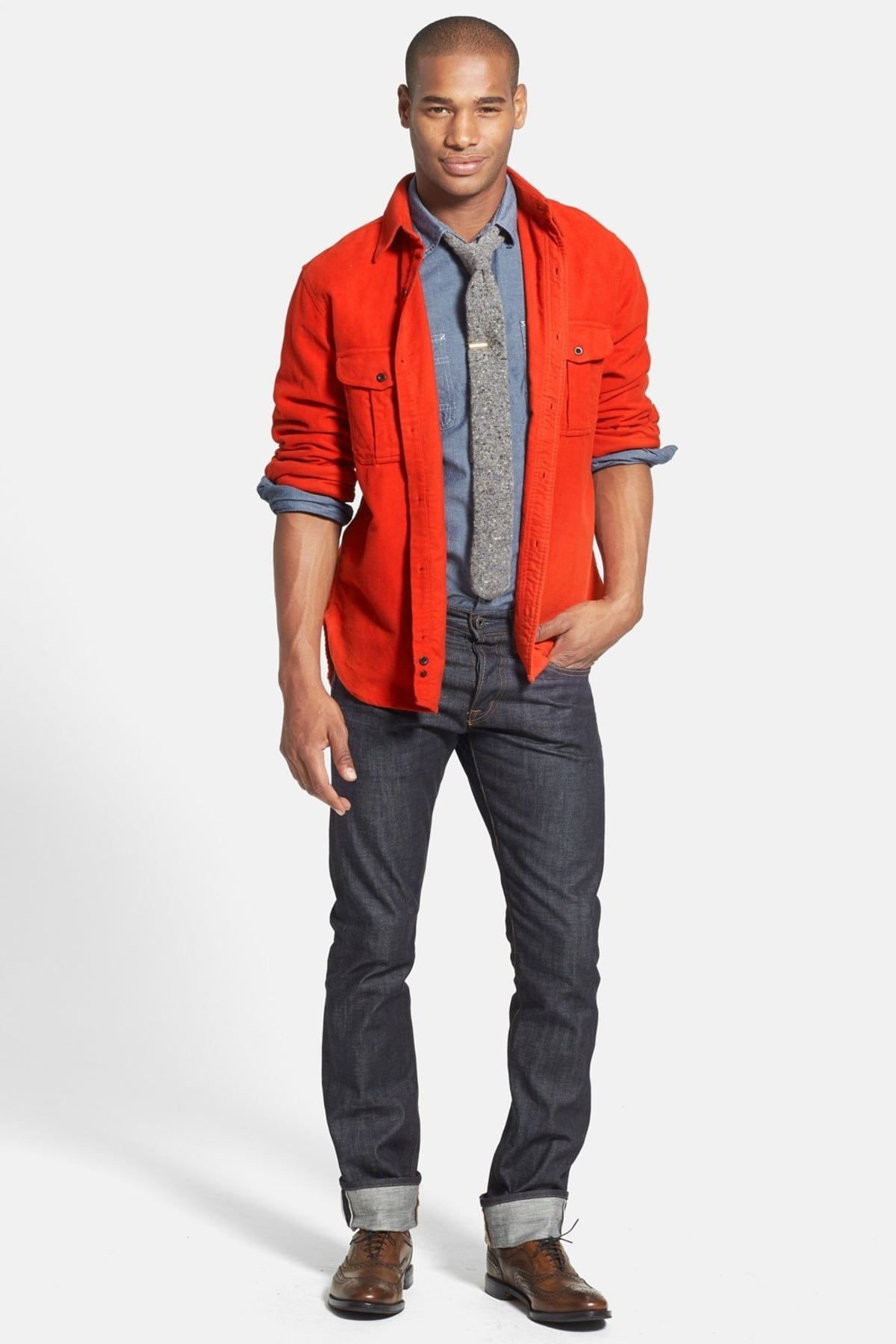 The Style Essentials You Need Men, trendy shirt, men's chambray shirt with orange shirt layered on top and jeans