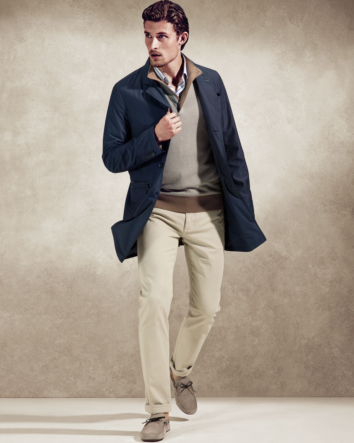 The Style Essentials You Need Men, zip pullover, Ermenegildo Zegna tan zip pullover, blue jacket, chino's