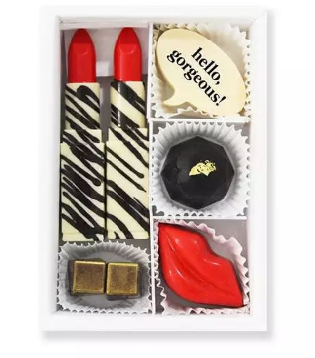 Galentine's Day Gifts & Glam, Galentine's gift Maggie Lousie lipstick, lips chocolate box