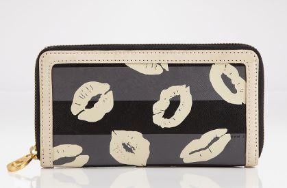 Galentine's Day Gifts and Glam, glanetine's gifts, Marc by Marc Jacobs wallet slim zipper with lips