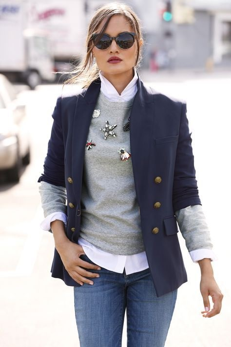 New Ways to Style Winter Sweaters, Button Down, embellished sweater, blazer