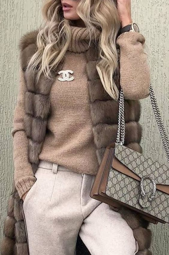 New Ways to Style Winter Sweaters, Turtleneck Sweater and long fur vest with pants