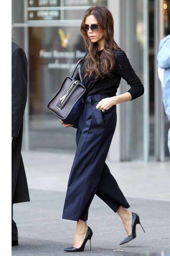 Style Rules to Break, don't wear black and navy, Victoria Beckham cropped wide leg navy bow tie trousers with black top