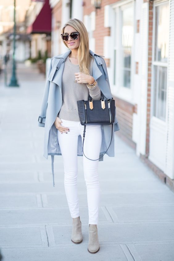 Style Rules to Break, wearing white year round, white jeans, gray sweater, blue trench coat, ankle boots