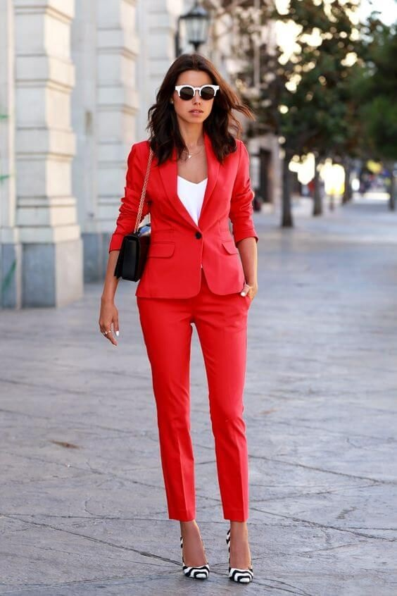 Style Runes to Break, shoes should match the outfit, red suit, white camisole, black and white striped high heels, sunglasses