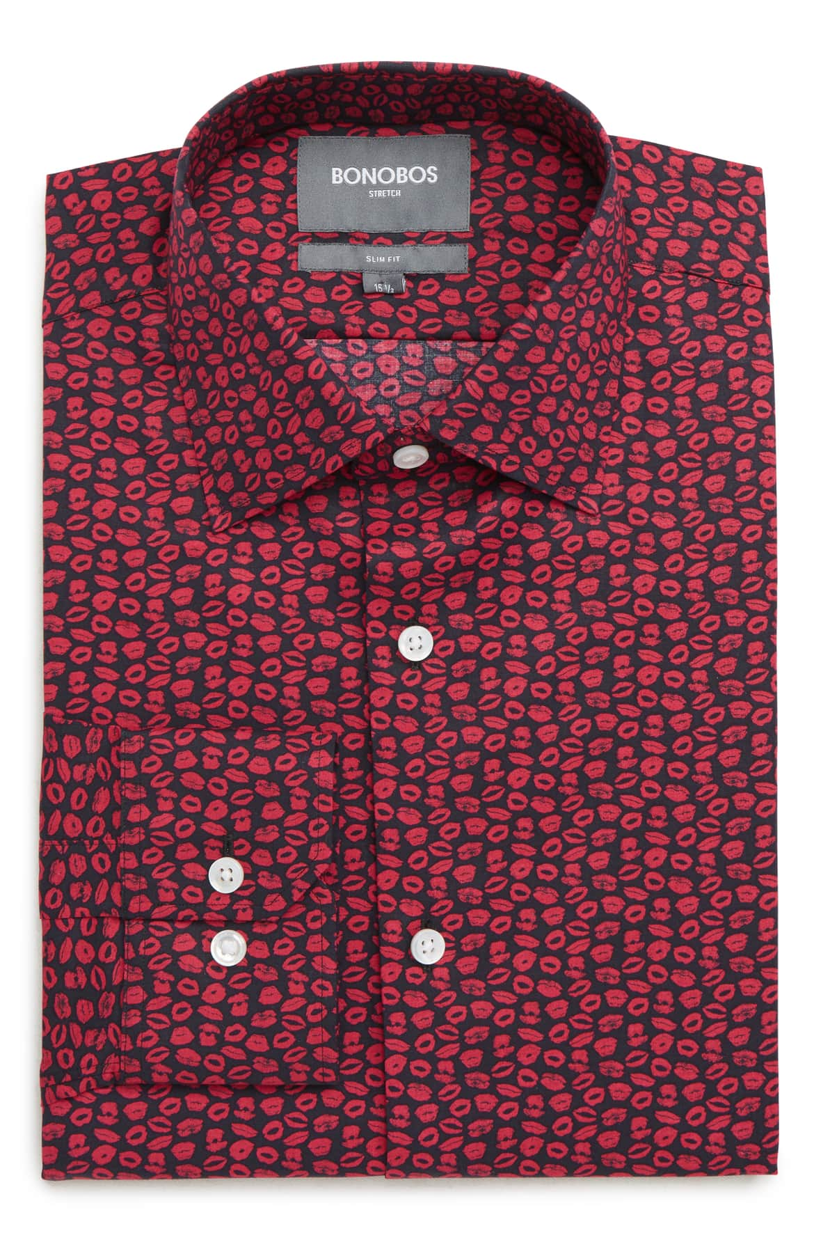 Valentine's Day Gifts for That Special Someone, men's Valentines gift, Bonobos XOXO Slim Fit Stretch Print Dress Shirt