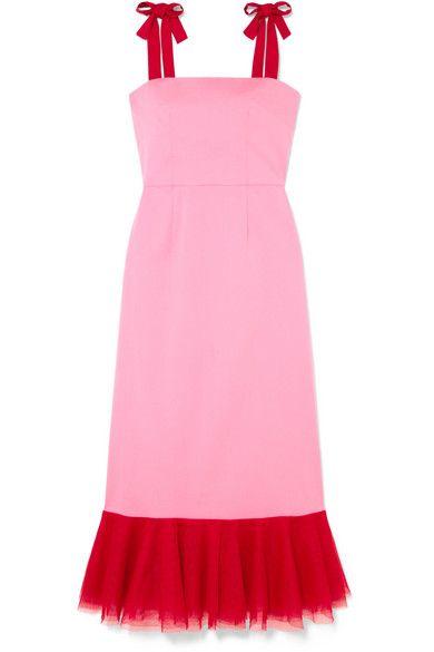 Valentine's Day Gifts for the Someone Special, pink and red dress, STAUD Langdon tulle-trimmed stretch-cotton poplin dress