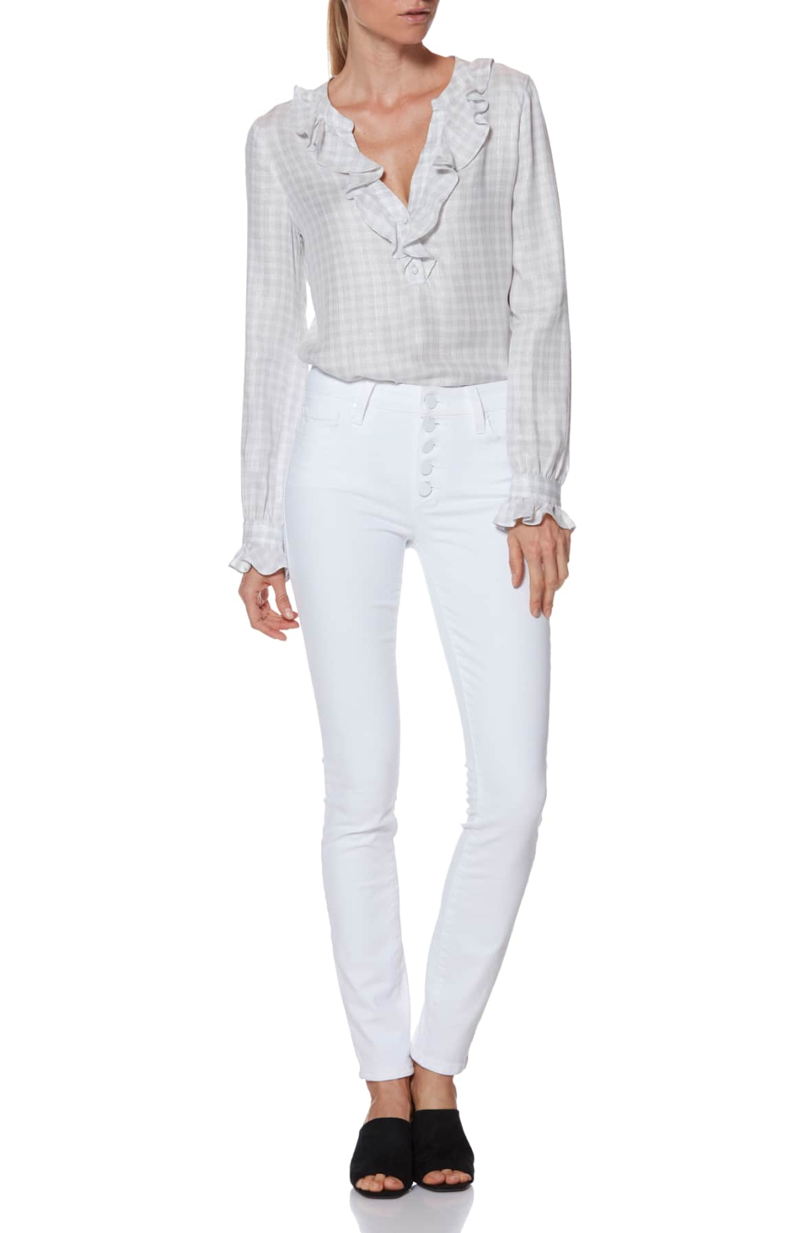 Spring Denim Must- Haves, Exposed Button Front Jeans, white jeans outfit