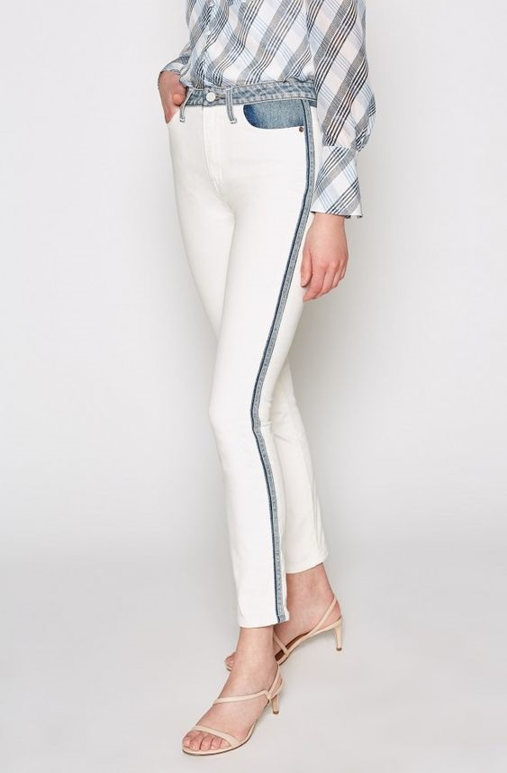 Spring Denim Must-Haves, Joie Gracelyn two tone white jeans with side piping