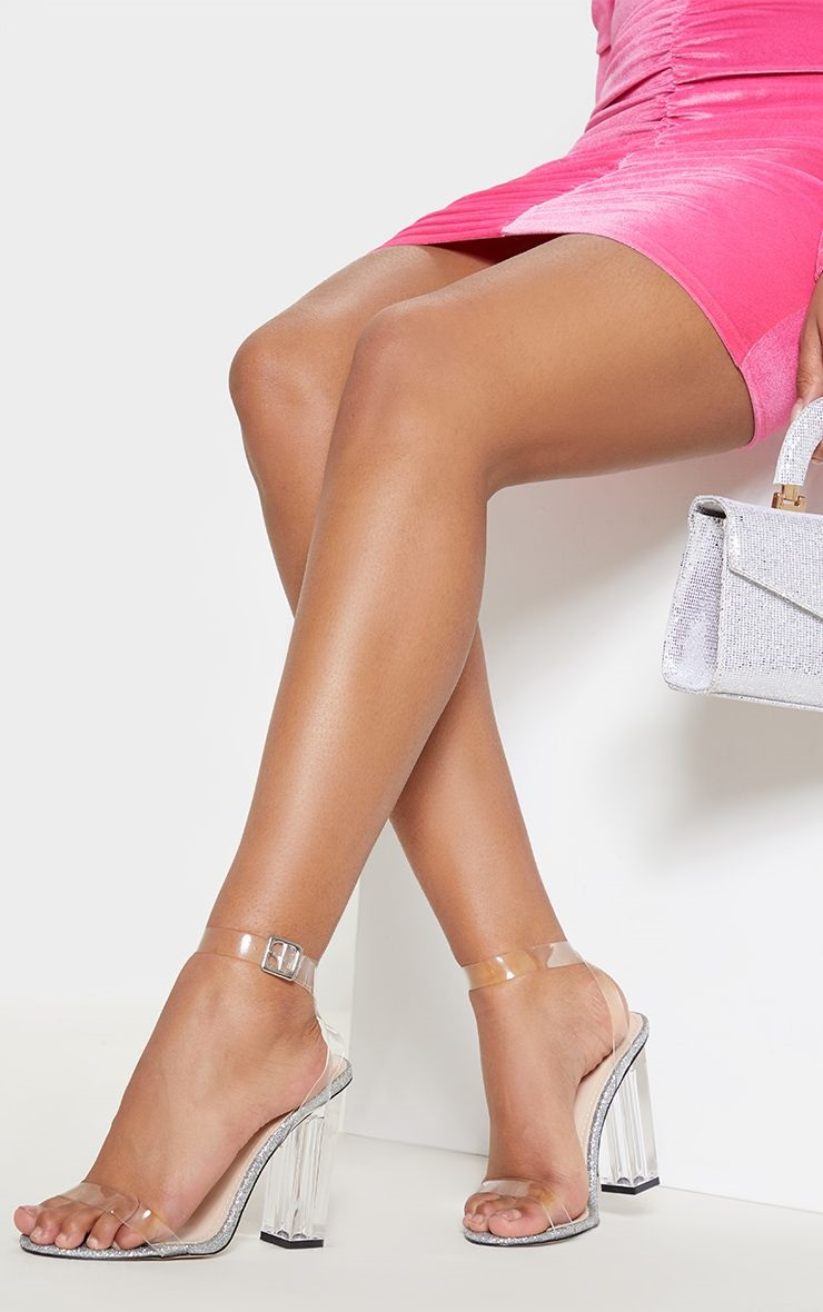 Spring Into Style: shoe trends, transparent high heel sandals, pink dress, transparent heels