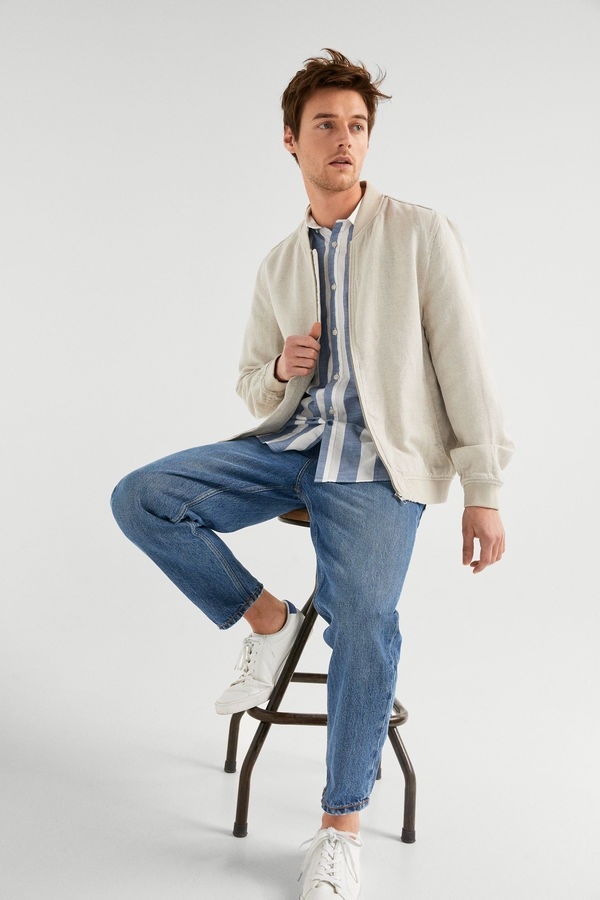 4 Easy Men's Outfit Ideas to Transition to Spring, bomber jacket and shirt, beige bomber jacket and striped shirt