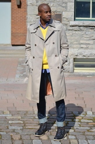4 Easy Men's Outfit Ideas to Transition to Spring, men's trench coat and spring sweater, beige trench coat, yellow sweater jeans