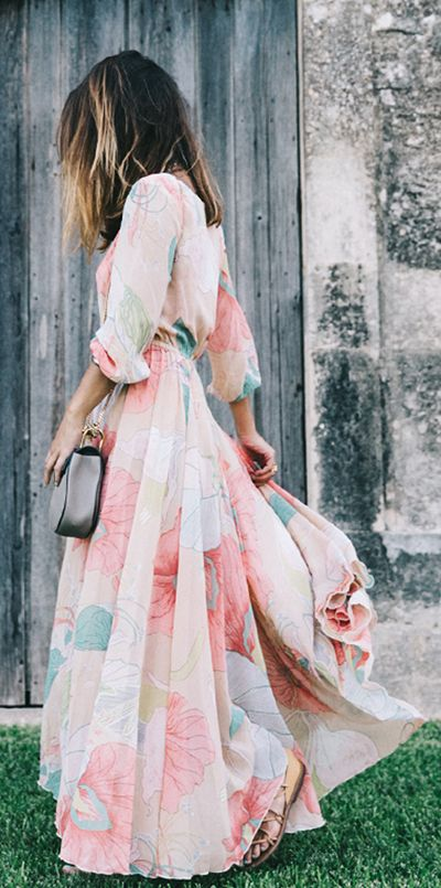 Easter Style Men's and Women's Looks, pastel women's maxi dress, pastel print dress
