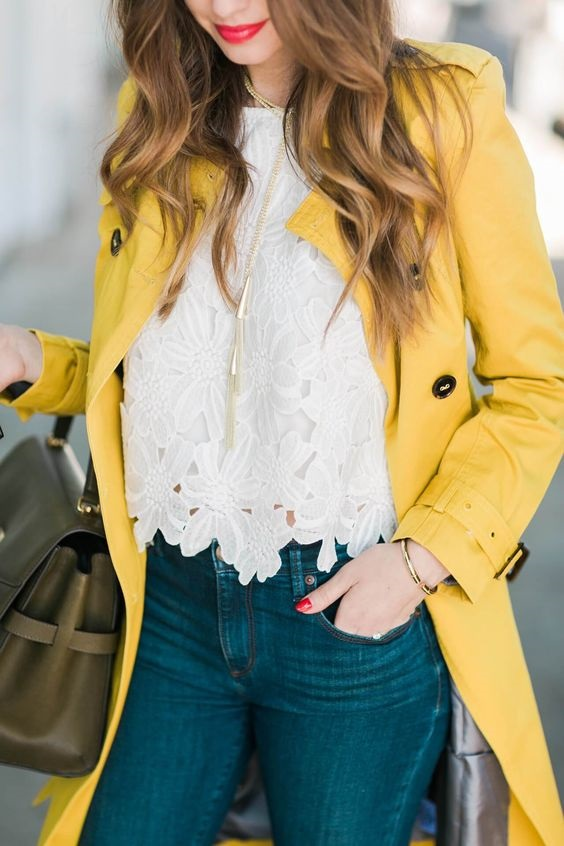 Spring's Must Wear IT color yellow, spring layering with yellow, yellow trench coat