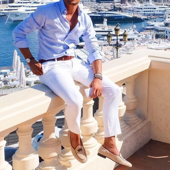 Memorial Day Weekend Travel Style Esssentials, men's linen pants, men's white linen pants and blue button down