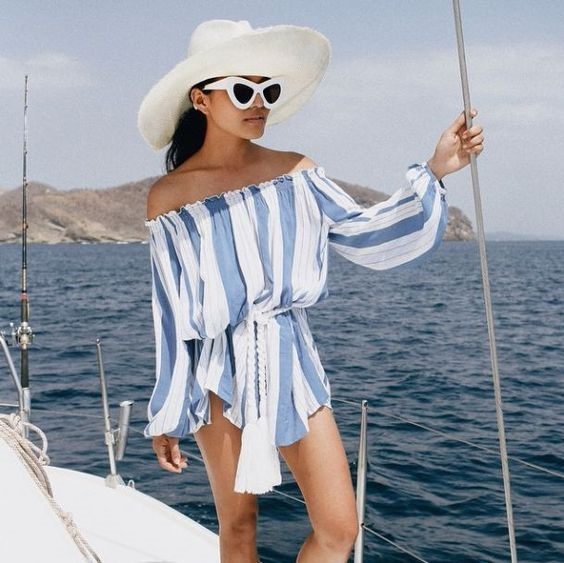 Beach Bag Beauty Essentials, blue and white striped coverup, white hat, white sunglasses
