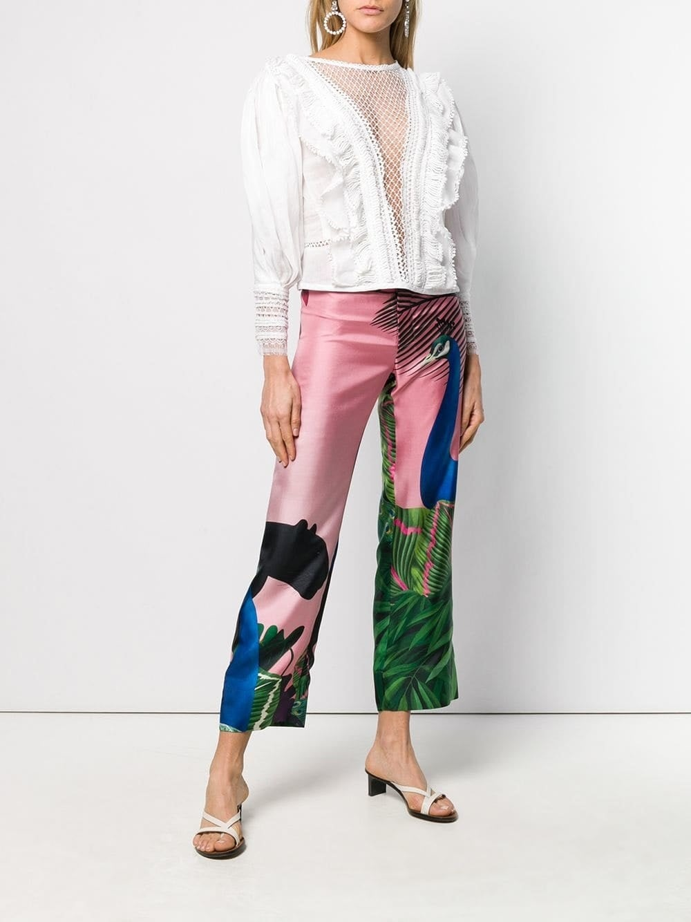 Easy Summer Pieces to Wear to Events, Silk Pants, Peacock print pink silk pants