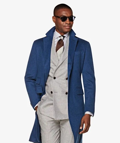 Get an Edge Up on Fall Outerwear, bold topcoats, Blue Topcoat suit supply