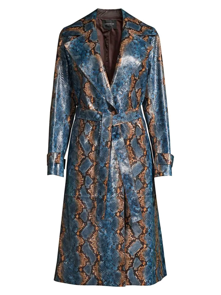 Get an Edge Up on Fall Outerwear, women's fall jacket trends 2019, statement trench coat, Lafayette 148 New York snakeskin leather trench coat