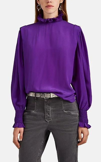 Jewel Tones for the Holidays, jewel tone blouse, purple blouse,ISABEL MARANT ÉTOILE yoshi silk crepe de chine purple blouse