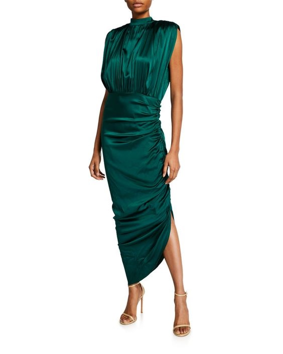 Jewel Tones for the Holidays, green dress, Veronica Beard Kendall Shirred Sleeveless Dress green