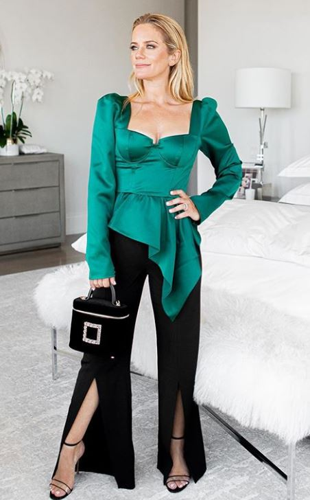 Jewel Tones for the Holidays, jewel tone blouse, green blouse, Self-Portrait green top