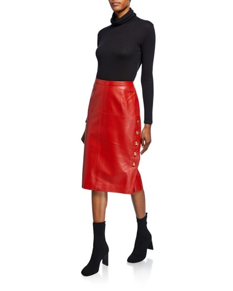 Jewel tones for the Holidays, red leather skirt, red pencil skirt, Escada red leather skirt