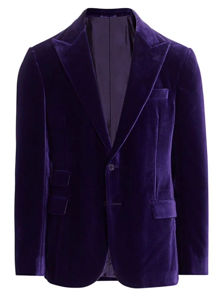 5 Trendy New Years Eve Outfit for Women and Men, men's velvet blazers, Ralph Lauren Purple Label purple velvet jacket
