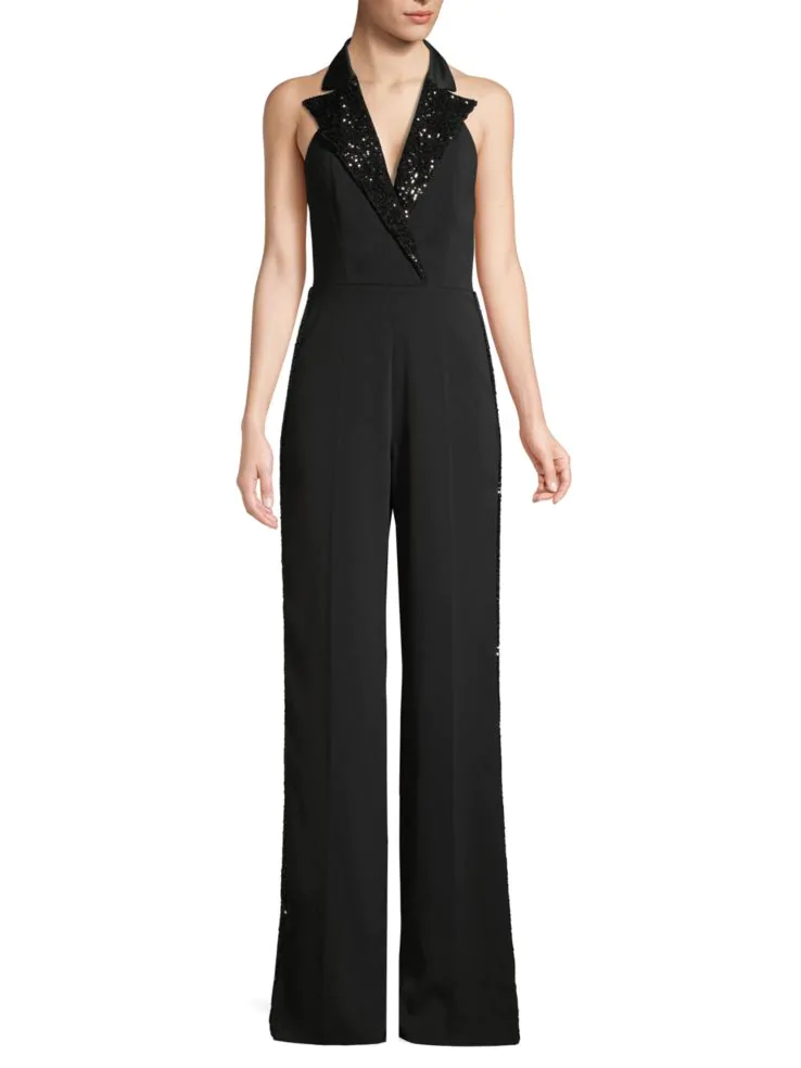 5 Trendy New Years Eve Outfits for Women and Men, Jay Godfrey pierce sequin lapel jumpsuit