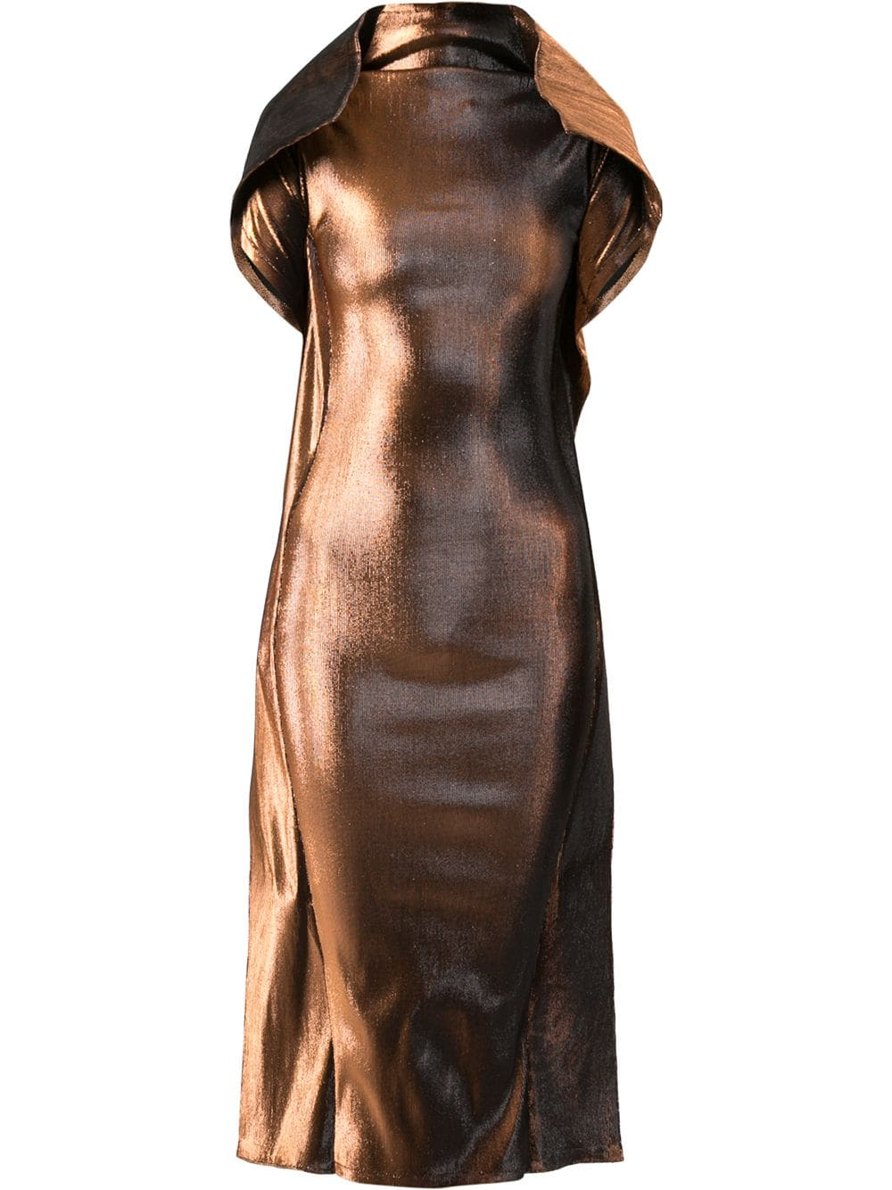 5 Trendy New Years Eve Outfits for Women and Men, PAULA KNORR metallic bronze dress