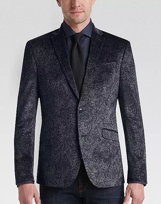 5 Trendy New Years Eve Outfits for Women and Men, men's velvet print sport coat, Awearness Kenneth Cole Gray Paisley Slim Fit Velvet Dinner Jacket